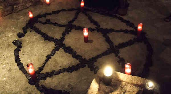 Pentacle demon candles