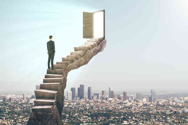 Man Standing On Stairs With Abstract Open Door. City Background.
